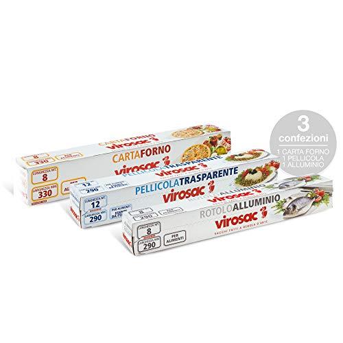 Keukenset: transparante folie, aluminium rol en bakpapier voor het bewaren van levensmiddelen.