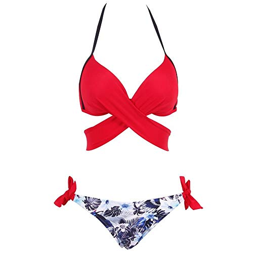 SHUCHANGLE Vrouwen Bikini Set Badpak Bikini Vrouwen Badpak Push Up Zwemkleding Rood Cross Bandage Halter Bikini Set Strand Badpak Zwemkleding