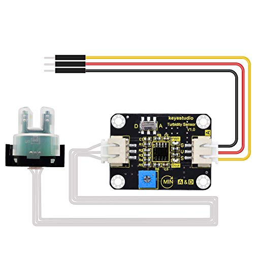KEYESTUDIO Turbiditätssensor Turbiditätssensor Flüssigkeit hängende Partikel Wasser Trübung Detektor Modul Kit Industrial Control V1.0 Überwachung der Wasserqualität für Arduino