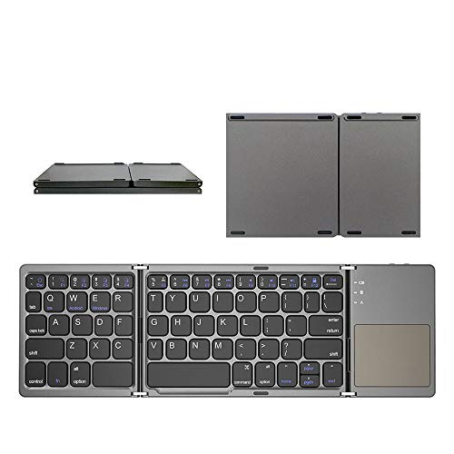 Small Folding Bluetooth Wireless Keyboard, Foldable Size 152 * 98mm with Touchpad, Suitable for Bluetooth Function Windows, Android, Ios Tablet Phone (Color : Black)