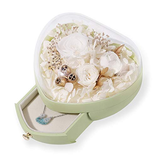 TWW Caja De Flores Preservadas En Forma De Corazón Caja De Regalo De Vaso Creativo para Boda Caja De Joyería Caja De Regalo De San Valentín Regalos para Amantes,Verde
