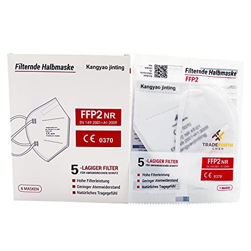 Tradeforth GmbH 100x FFP2 Schutzmaske, einzeln verpackt, 5 Lagig - Zertifiziert CE0370 - Dermatest: SEHR GUT