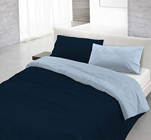 Italian Bed Linen Parure Copri Piumino Natural Color, Blu Scuro/Azzurro, Piazza e Mezza