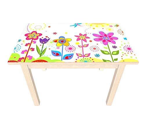 Set Möbelaufkleber für Ikea SUNDVIK Kindertisch Blume Sonne Schmetterlinge Blumen rot lila Kat2 Kinderzimmer SU3 Aufkleber Möbelfolie sticker (Ohne Möbel) Folie 25V2505