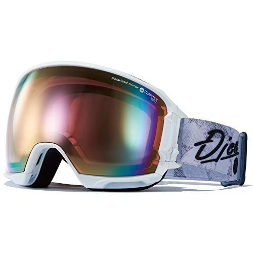 DICE(ダイス) スキー スノーボード ゴーグル HR01361W くもり止めゴーグル ハイローラー HIGHROLLER 偏光レンズ ホワイト/パステルピンクミラー×偏光ピンク