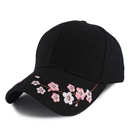 LSJYF Baseballkappe Mode Kreative Frauen Mädchen Baseball Caps Sommerkappe Schöne Blumen Verstellbare Lässige Sonnenhut PersönlichkeitSchwarz