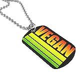 90ioup - Collar militar vegano con cadena de acero inoxidable
