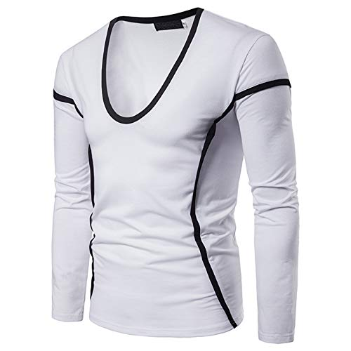 Mr.BaoLong&Miss.GO Men Long-Sleeved T-Shirt Color-Blocking Plus Size Sweatshirt Double-Faced Fleece T-Shirt Half High Collar Solid Color Sweater Fashion Bottoming Shirt Top White