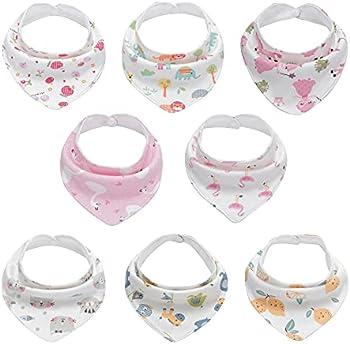 8-Pack Onetoo Soft Absorbent Baby Bandana Drool Bibs