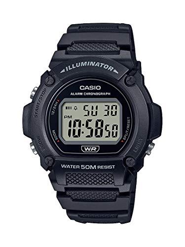 Casio Quartz Fitness Watch with Resin Strap, Black, 25.5 (Model: W-219H-1AVCF)