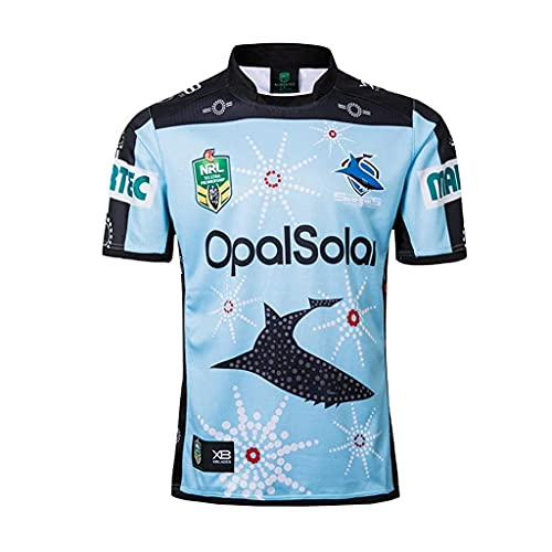 ZDVHM 2018-19 Blue Shark Edition conmemorativo Rugby Jersey 100% Poliéster Tela Transpirable Deportes Entrenamiento Camiseta Uniforme de Rugby Camisa de fútbol Camisa de fútbol para los fanáticos