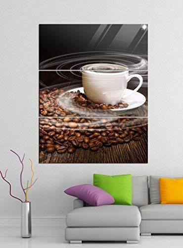 Acrylglasbilder 3 Teilig 100x120cm Kaffee Tasse Coffee Bohnen Küche Acrylbild Acrylglas Acrylbilder Wand Bild 14E312, Acrylglas Größe 7:BxH Gesamt 100cmx120cm
