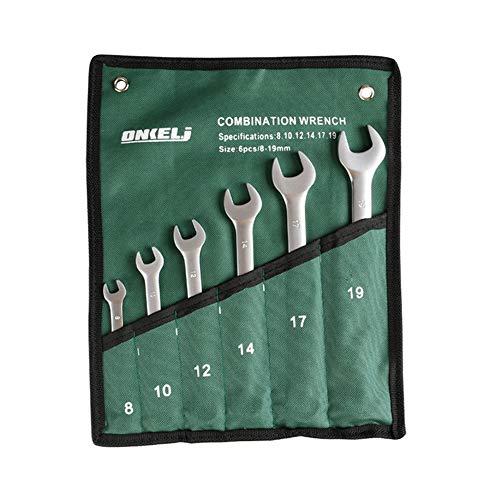Foxorex Juego de llaves de carraca de cabeza fija, herramienta métrica con bolsa para rollo de herramientas, 6 unidades