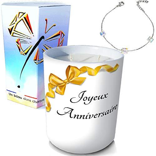 ArtGosse - Candela con gioiello in argento ornato di cristalli Swarovski® • Candela 2 stoppini decorativa, nastro di compleanno in cera vegetale, profumata Monoï di Tahiti • Bracciale 3 cubi