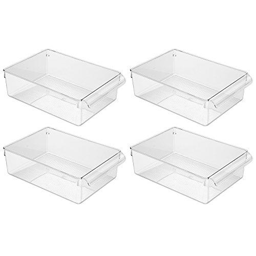 iDesign Linus Aufbewahrungsbox, großer Küchen Organizer aus Kunststoff mit Griffen, 4er-Set Vorratsdosen, durchsichtig
