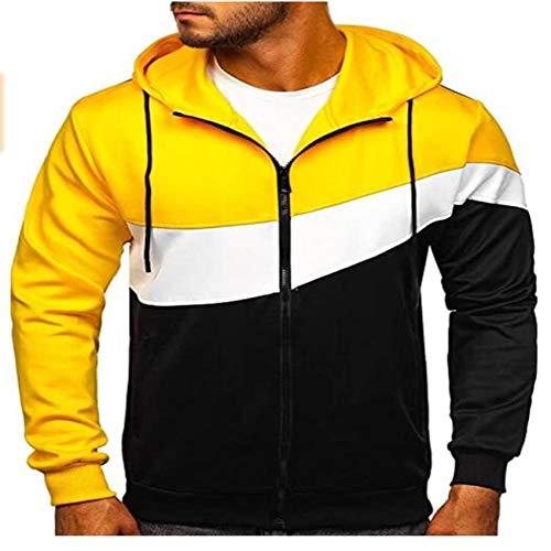 YZANYFQH Herbst / Winter Herren Kapuzenpullover Herren NäHte Farbe ReißVerschluss Tether Jacke Large Size