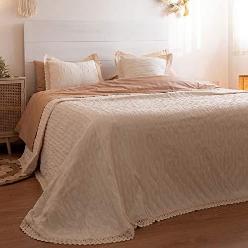 LA MALLORQUINA Colcha de Piqué - Camelia (Cama 135 cm - 230x260cm - Crudo) | Colchas de Lujo y Diseño de Algodón