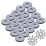 KAILEE 20 Stück Teflongleiter zum Schrauben Ø 25 mm Möbelgleiter Teflon Stuhlgleiter Teppichgleiter mit Schrauben Gleiter für Stühle Teppich Möbel