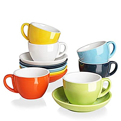 SWEEJAR Ceramic Cappuccino Cups and Saucers Set, 7 Ounce Espresso Cups for Coffee Drink, Latte, Café Mocha and Tea - Set of 6(Multicolour)