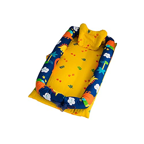 ENEN Nido Bebé Recién Nacido Cuna Cálido Nido Portátil Reductora de Cama, Ajustable Cómodo y Desmontable Puro Algodón Multifuncional BebesCuna Nidos (Fondo amarillo,90x50cm)