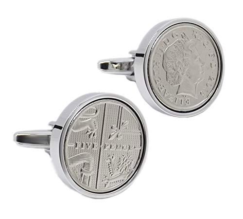 Cufflinks Direct 2015 Kopf & Schwanz 5 Pence Münzen Set in Silber Einstellung Männer Geschenk Manschettenknöpfe (Manschettenknöpfe mit Geschenktüte)