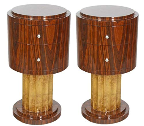 Casa Padrino Art Deco Side Table Set Brown/Light Brown Ø 40 x H. 75 cm - Round Mahogany & Root Wood Side Tables with 2 Drawers - Luxury Quality