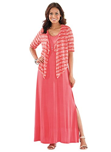 AmeriMark Women's Knit Maxi Long Casual Dress and Jacket with Free Necklace