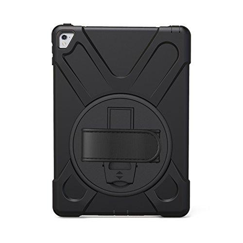 Runbiu - Funda para iPad Pro de 9,7 Pulgadas 2016, Resistente a los Golpes, con Soporte Giratorio de 360 Grados, Correa de Mano y Correa Ajustable de TPU + PC Funda, Color Blanco Negro Negro