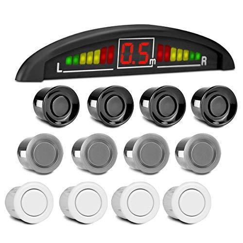 Sensor De Re Estacionamento Ré 4 Sensores Display Sonoro Prata