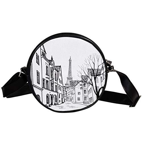Runde Crossbody Tasche Kleine Handtasche Damen Mode Schultertaschen Messenger Bag Canvas Tasche Hüfttasche Zubehör für Frauen - Bleistift gezeichnet Paris Straße