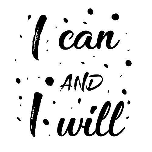 """Adhesivo de pared con texto en inglés""""I can I will motivational Home Gym Wall Art Decoración para el hogar, póster inspirador, póster de entrenamiento, decoración positiva del hogar, plantillas"""