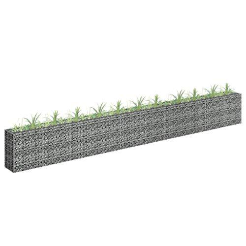 UnfadeMemory Jardinera Exterior,Gaviones de Piedra,Muro de Gaviones,Decorativos para Jardin Patio,Acero Galvanizado,Plateado (450x30x60cm)