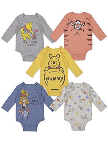 Disney Winnie the Pooh Baby Boys 5 Pack Long Sleeve Bodysuit 0-3 Months