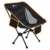 BLUU Ultralight Foldable Camping Chairs, Portable Folding Camp Chair, Compact Lightweight Backpacking Chair for Adult Outdoor Travel & Hiking (Black)