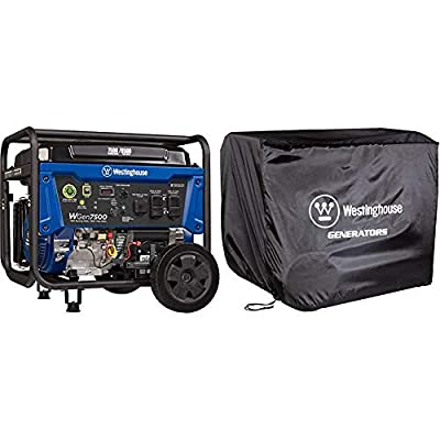 Westinghouse WGen7500 Portable Generator - 7500 Rated Watts & 9500 Peak Watts & WGen Generator Cover - Universal Fit - For Westinghouse Portable Generators Up to 9500 Rated Watts