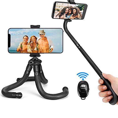 Coolwill PL-1828 - Treppiede flessibile per selfie con telecomando Bluetooth wireless e clip girevole a 360°, mini treppiede da viaggio per iPhone, Android, Samsung e qualsiasi cellulare (nero)