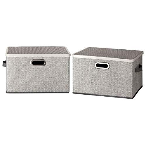 TOPP4u Aufbewahrungsbox mit Deckel und 3 Griffen im 2er Set grau - 2 große Faltboxen mit stabilem Kunststoff-Deckel - 38 x 26 x 24,5 cm - Faltbare Stoffbox Ordnungsbox