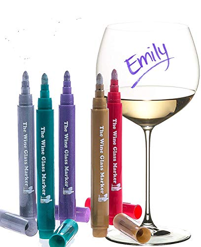 glass markers The Original Wine Glass Markers - (Set of 5 Wine Markers) – Vibrant Colors - Wine Glass Charms – Fun Wine Accessories – Write on any glassware - Easy Erasable