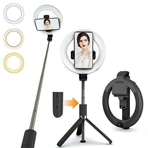 "PEYOU Palo Selfie Anillo de Luz, 6"" Aro de Luz LED para Maquillaje 3 Temperaturas de Color, 9 Brillos Regulables, Control Remoto, Palo Selfie Trípode para Móvil, Youtube, TIK Tok"