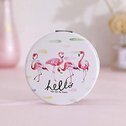 LASISZ Mini Two-Side Mirror Pocket Round Mirror Portable Reindeer Flamingo Mirror Vanity Mirror Vintage Make Up Tool Travel Accessories,Four Flamingos