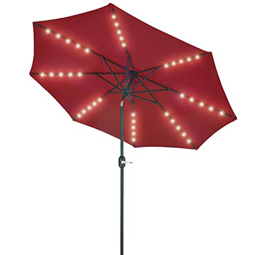 Patio Watcher 9 Feet Patio Umbrella 40 LED Lighted Solar Umbrella with Push Button Tilt and Crank, Outdoor Umbrella 8 Steel Ribs, Red