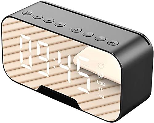 Radio despertador con altavoz Bluetooth, despertador de cama, radio FM digital, luz nocturna, carga inalámbrica, sin tic-tac, con pantalla LED regulable