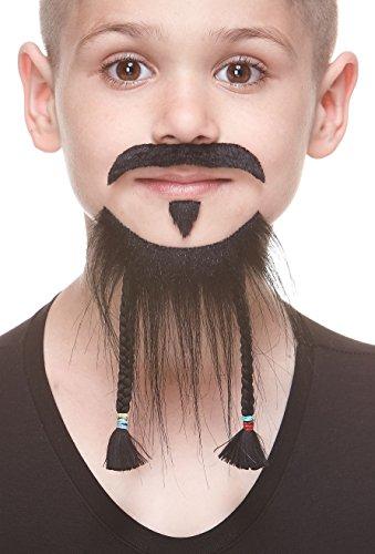 Mustaches Auto-Adhésives, Nouveauté, Léger, Tressé Pirate Fausse Barbe, Fausse Moustache et Patch d'âme, Noire Couleur