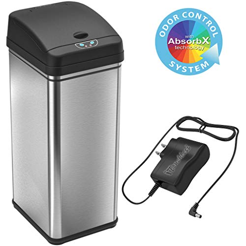 iTouchless 13 Gallon Sensor Trash Can with AC Adapter, Battery-Free Stainless Steel Automatic Bin...