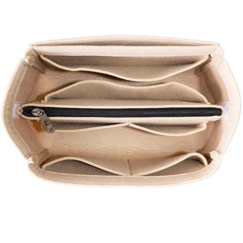 HyFanStr Taschenorganizer Filz Kosmetik Handtasche Einlage Beutel Organizer Taschen mit Reißverschluss, Beige klein
