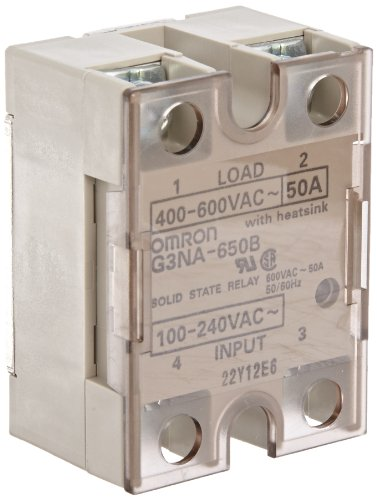 Omron G3NA-650B AC100-240 Solid State Relay, Zero Cross Function, Indicator, Photocoupler Isolation, 50 A Rated Load Current, 400 to 600 VAC Rated Load Voltage, 100 to 240 VAC Input Voltage