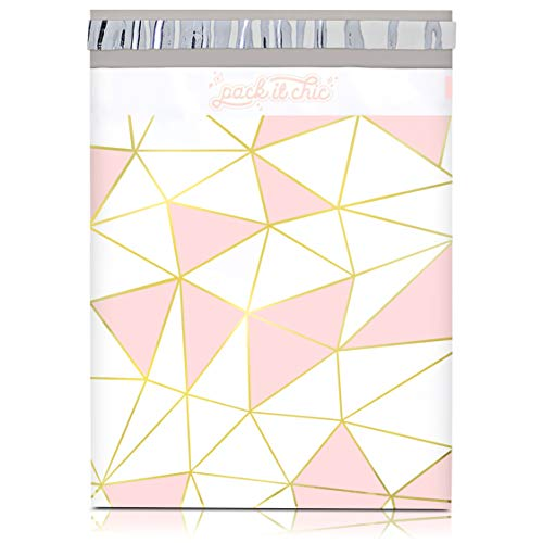 Pack It Chic - 10X13 (100 Pack) Mosaic Triangle Poly Mailer Envelope Plastic Custom Mailing & Shipping Bags - Self Seal