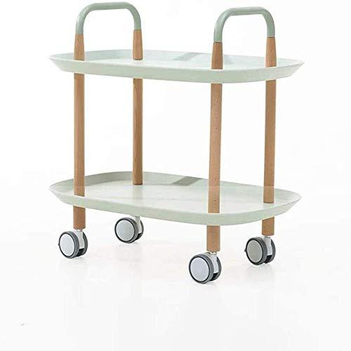 Tägliche Ausrüstung Nachttisch Beistelltisch für Wohn- / Schlafzimmer Beistelltisch Sofa Beistelltisch Beistelltisch Couchtisch auf Rädern mit 2 Lagerregalen Mobiler Wagen mit Riemenscheibe (Farbe: