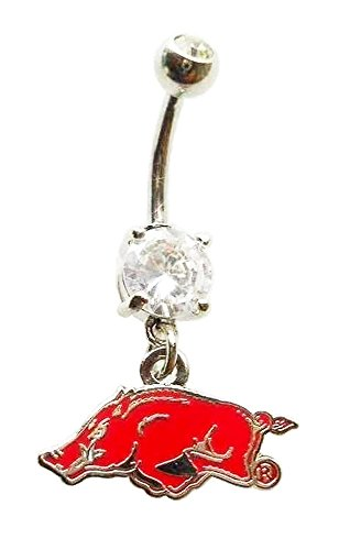 UNIVERSITY OF ARKANSAS RAZORBACKS CZ Navel Belly Button Ring Body Jewelry Piercing