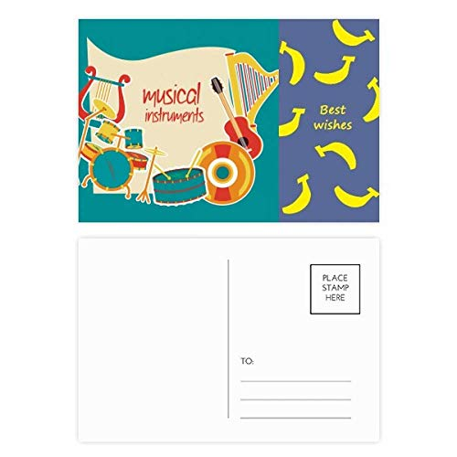 Headset-Trommel-Musikinstrumente Muster Banana Postkartenset Dankeskarte Mailing-Seite 20 Stück